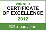 2012 - TripAdvisor: Certificate of Excellence