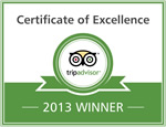2013 - TripAdvisor: Certificate of Excellence