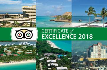 Eleven Meliá Cuba hotels awarded TripAdvisor Certificate of Excellence 2018