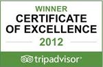 2012 - TripAdvisor: Certificado de Excelência