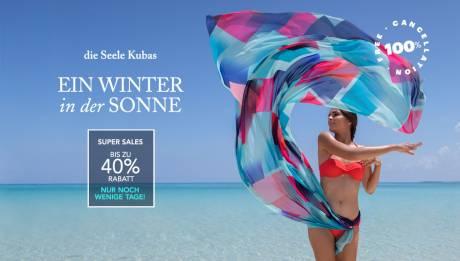 Ein herrlich warmer Winter mit den Super Sales von Meliá Cuba - Bis zu 40 % Rabatt.