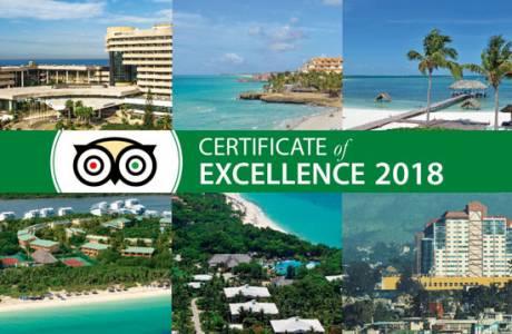 Eleven Meliá Cuba hotels awarded TripAdvisor Certificate of Excellence 2018