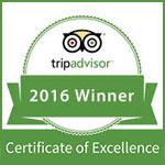 2016 - TripAdvisor: Certificate of Excellence