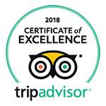 2018 - TripAdvisor: Certificate of Excellence